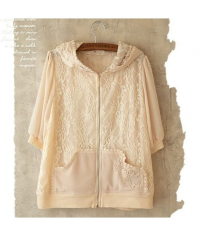 Summer Autumn Mori Girl Sunscreen Jacket Women Lace Chiffon Floral Embroidery Pocket Female Kawaii Lovely Hooded Jacket A121...