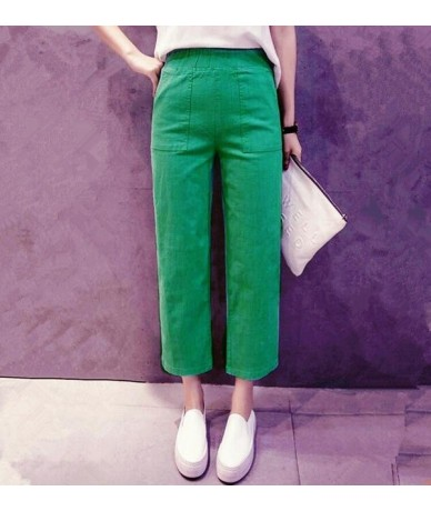New 2019 Spring Summer Fashion Mid Waist Cotton Wide Leg Pants Female Plus Size M-6XL 7XL Loose Casual Pants Trouser For Wom...