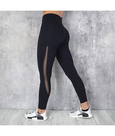 2018 Women Fitness Leggings Push Up Sports Pants with Big Pocket Side See Through Leggings Push Up Mesh Patchwork Pink Black...