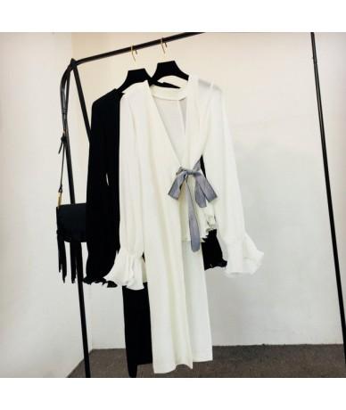 2019 New V Neck Blouse Shirt Women Long Flare Sleeve Lace Up Blouses Tops Irregular Medium-long Fashion Clothing 38258 - Whi...