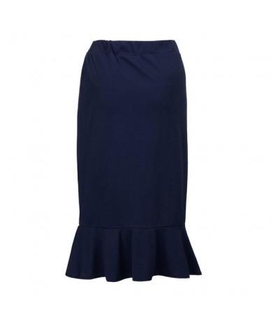 Skirt Women Summer 2019 New Fashion Casual Elastic Waist Plus Size Solid Mermaid Hem Ruffles Skirt NEW 2019 dropship M27 - N...
