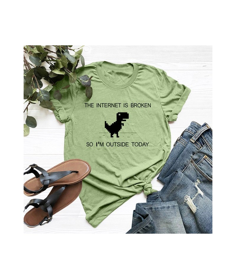Summer Women T-Shirt Cartoon Dinosaur Print O Neck Short Sleeve Cotton T Shirt Harajuku Tshirt Women Casual Plus Size Funny ...