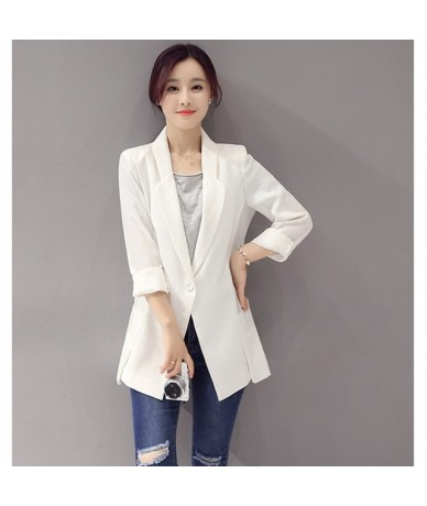 Fashion Plus Size Ladies Blazer Jacket Business Suit Spring Autumn Blazer Coat Women Casual Cotton Linen Slim Blazer Femme Q...