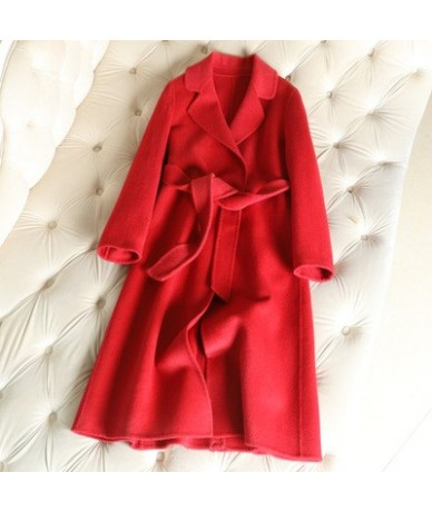 2019 long double cashmere Winter Coat Women jacket autumn and winter new arrival 9colors - Red 1 - 4R3078057225-5