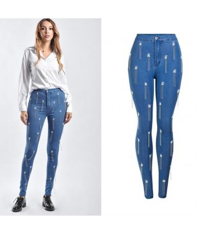 Tassel Skinny Jeans Woman Elastic Ladies High Waist Jeans Fashion New Pencil Denim Pants Blue - Blue - 4R3077223722