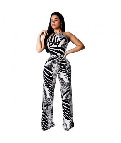 Floral Printed Jumpsuit Night Club Women Sexy Halter Lace Up Bandage Wide Leg Pants Romper Female overall outfit Office lady...