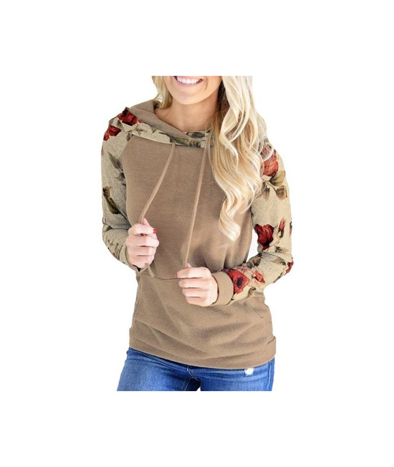 Fashion Women Autumn Hoodies Floral Print Long Sleeves Hooded Pullover Pockets Tops GM - Khaki - 414152852953-2