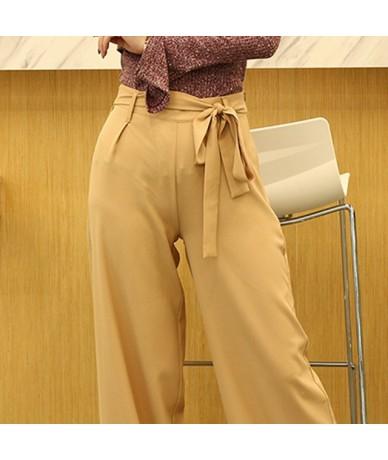 Women Orange Wide Leg Chiffon Pants High Waist Drawstring Front Trousers Palazzo OL Elegant Long Culottes Pants - Beige - 40...