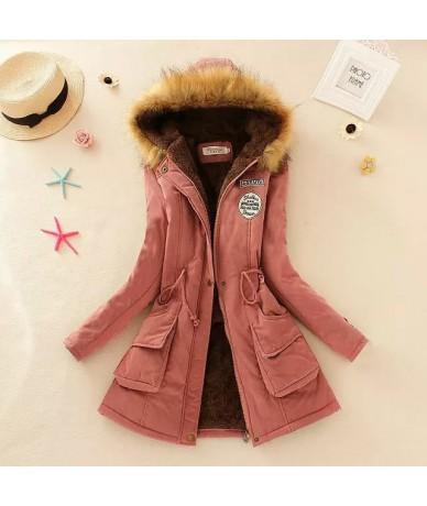 2017 Womens Winter Jackets Women Thicken Warm Winter Fur Collar Plus Size Parkas for Women Long Down Parka - DarkPink - 4738...