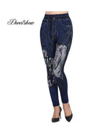 Fashion Slim Women Leggings Faux Denim Jeans Leggings Sexy Long Floral Printing Casual Faux Denim Leggings Pencil Pants Flee...