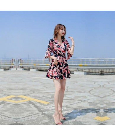 Sexy Bodysuit Floral Print Women Rompers Top Jumpsuit Playsuit Body Feminino Casual Summer Boho Clothes Overall Tops AA046 -...