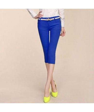 2019 Women Pants Capris Woman Candy Color Slimming Capri Pants Cotton Skinny Denim Capris For Women Breeches Plus Size - Sap...