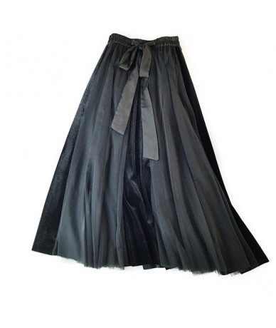 Elegant A-line Pleated Long Maxi Skirt Women Fashion 2019 Autumn Winter High Waist Tulle Velvet Skirt Female Green Blue - Bl...