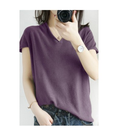 19 Summer Cotton and Linen Knit Short-sleeved Women Loose V-neck Sweater Bottoming Half Sleeve Pullover Large - Even purple ...