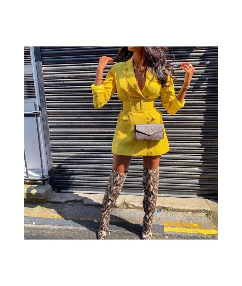2019 Autumn Women Blazer Lapel Double Breasted Long Sleeve V-neck Casual OL Blazers - YELLOW - 52111142471891-5