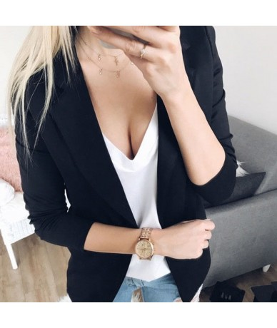 women vogue casual Blazers tops Slim OL style suit open stitch office lady long sleeve solid autumn winter outwear coats fem...