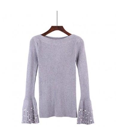 Korean Slash Neck Flare Sleeve Knitted Sweater Women Spring Autumn Winter Beading Thcik Pullover Sweater For Sweet Girls Pul...