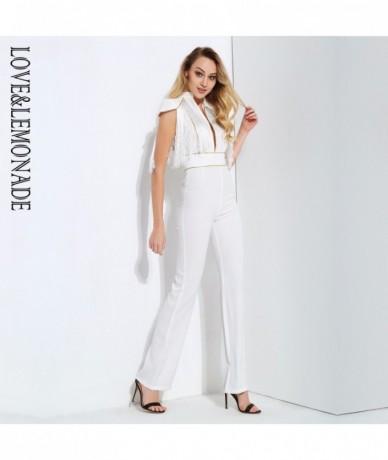 White Cutout Tassel Decoration Gold Splicing Jumpsuit LM0603 - White - 493949879411
