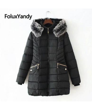6 XL Plus Size Winter Jacket Women Long Coat Faux Fur Collar Warm Thick Slim Parkas Solid Outerwear KKFY2870 - Black - 43306...