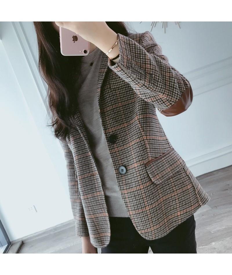2019 New Autumn Winter Blazer Women Wool Plaid Leather Patchwork Slim Blazers Coat Casual Jackets Outwear - 5K111257785781