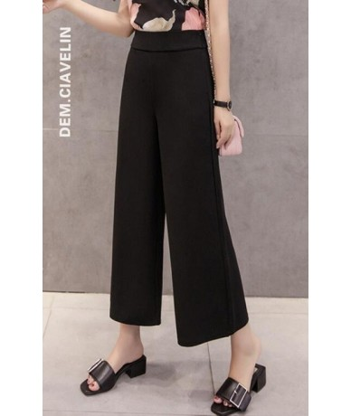 Womem wide leg pants 2019 spring summer female vintage elegant elastic waist chiffon pant casual trousers office lady pantal...