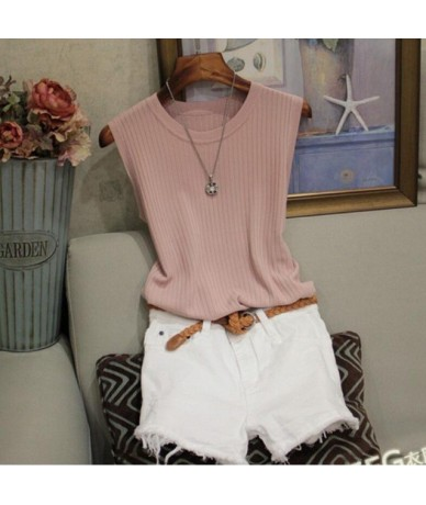 Knitted Vests Women Top O-neck Solid Tank Fashion Female Sleeveless Casual Thin Tops 2019 Summer Knit Woman Shirt Gilet Femm...