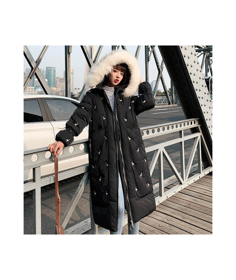 2019 New X-Long parkas coat -Embroidery Thicken warm big fur collar jacket coats Casual female winter outwear parkas - Black...