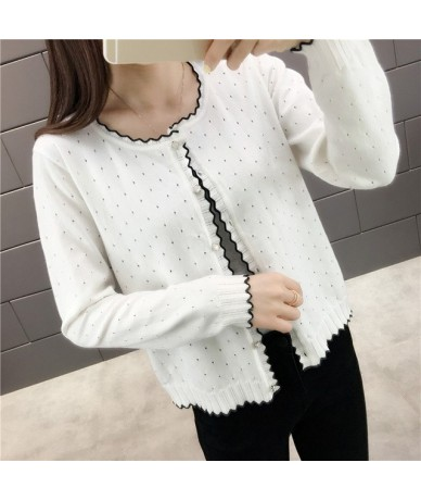 2019 Short design thin cardigan women's cutout sunscreen air conditioning shirt sweater knitted outerwear small cape - white...