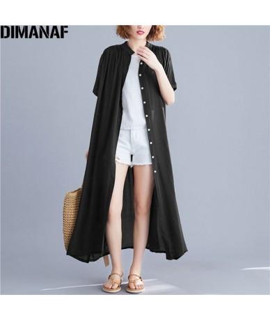 Plus Size Women Blouse Female Long Cardigan Solid Outerwear Large Shirt Loose Sun Protection Clothing Black Blue White - DMN...