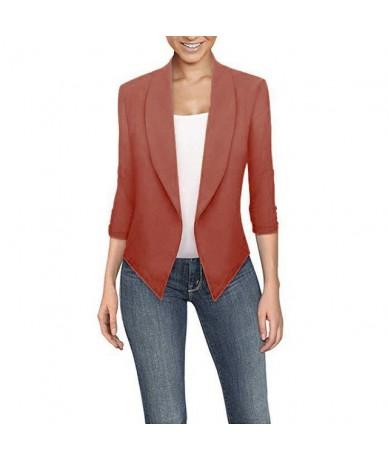 Womens Solid Open Front Cardigan Irregular Suit Jacket Work Office Coat Three Quarter Long Sleeve Coat Casual Coat - Orange ...