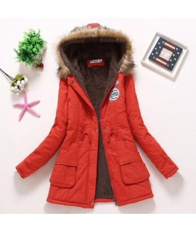 New Winter Padded Coats Women Cotton Wadded Jacket Medium Long Parkas Thick Warm Hooded Quilt Snow Outwear Abrigos - Red - 3...