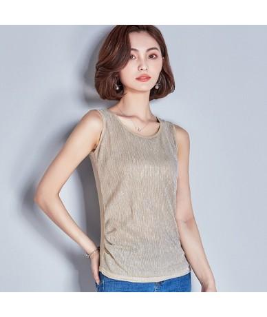 2018 Kimono Women Summer Clothes Sleeveless Sexy Shining Silk Tops Femme Laser Rainbow Shirts Tank Top Vogue Splice Body T S...