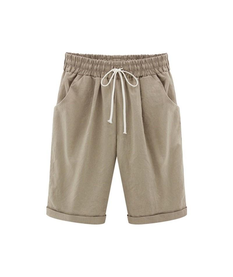 Summer Loose Straight Knee Length Shorts Comfortable Pocket Trouses Women's Short Plus Size FiveStrap Casual Shorts - Khaki ...