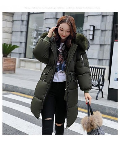 Winter Women Warm Cotton Jacket Coats Hooded Parka Thick Fur Collar Loose Coat Female Snow Army Green Long Outerwear - Army ...