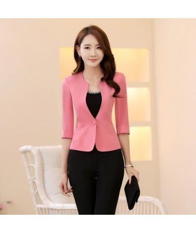 Spring Summer Formal Female Pink Blazers Women Jackets Coat Half Sleeve Blaser Ladies Office Uniform Style Work Wear Clothes...