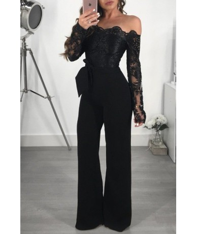 Sexy Off Shoulder Jumpsuit Sheer Mesh Long Sleeve Lace Patchwork Embroidery Floral Wide Pants Feminino Combinaison Femme - B...