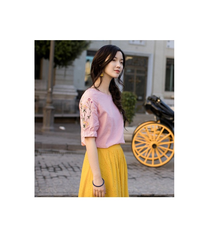 Summer 2019 Femme Cotton Blouse Lotus Leaf Half Sleeve Tops Causal Embroidery Light Color Woman Blouse - Pink - 4G3971604352-2