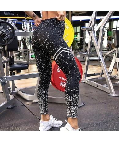 High Waist Exercise Leggings Ladies 2018 Fashion Graffiti Print Leggings Female Fitness Sportswear Ladies - Black Silver - 4...