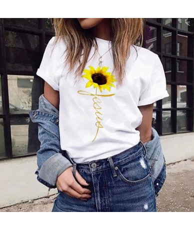 Women Clothes 2019 T Shirt Plus Size Sunflower Print Short Sleeved T-shirt Tops Summer Cotton Streetwear c0513 - White - 4B4...
