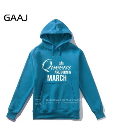 """Queens are born in March"""" Men Hoodie Women Jacket Casual 2019 New Streetwear Brand Clothing Fashion Male Coats Man - Lake Bl..."""