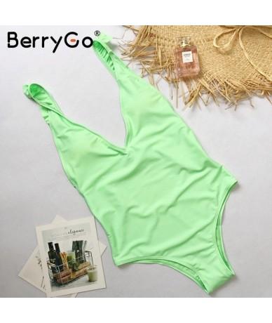 Push up ruffle strap sexy bodysuits Women padded backless print bodysuits 2018 Skinny v neck summer beach playsuit femme - G...