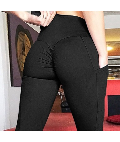 Women Fitness Legging Workout Leggings Push Up Leggings with Pockets Solid Color Women Fitness Clothing Women Pants - Pocket...