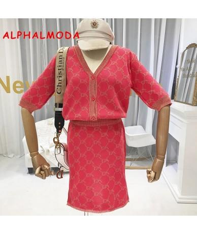 Autumn New Arrival Knitting Cardigans + Straight Skirt 2pcs Set OL Half-sleeved Fashion Pattern Knitting 2pcs Suits - 5I1111...