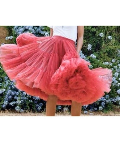 2019 Pretty Puffy Teal Midi Tulle Skirts Women Elastic Fashion Bridal Bridesmaid Tulle Skirt Ruffles Tutu Saias - Blue - 5K1...