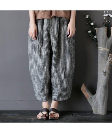 2019 New Summer Women Cotton Linen Harem Pants Casual Loose Striped Plus Size Women Trouser Elastic Waist - Striped - 4N3928...