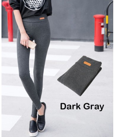 New Womens Casual Thicken Nine Pants Leggings Waist Leather Lable Elastic Cotton Leggings Pants Female Women Clothing - Dark...