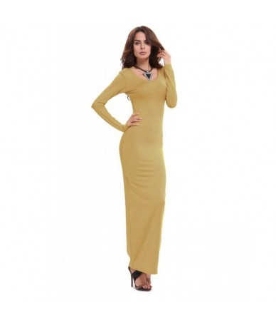 Women Stretch Bodycon Slim Long Dress Long Sleeve Casual Maxi Dress Clubwear - Green - 453726332838-4
