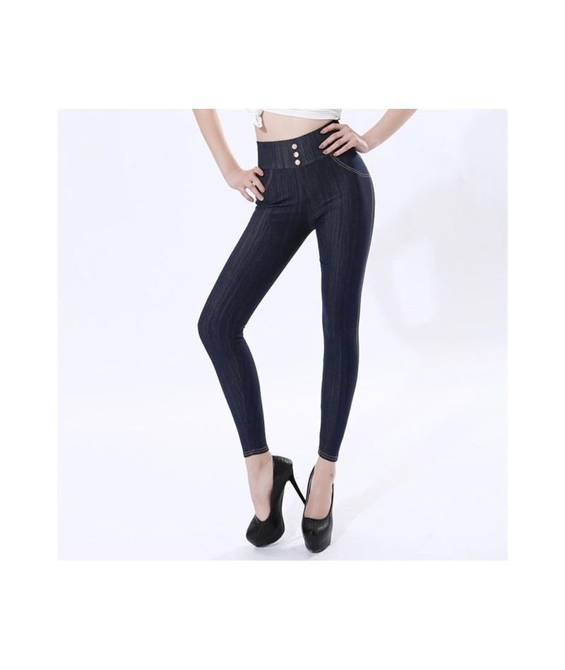 Cotton Imitation Jeans Women Leggings High Waist Button Pockets Black Blue Sexy Large Size 5XL Imitation Denim Elasticity Pa...