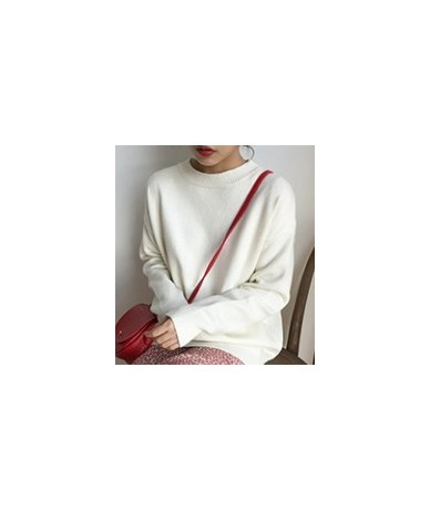 2018 autumn and winter breif style loose solid color sweaters womens sweaters and pullovers womens (F1322) - White - 4030522...