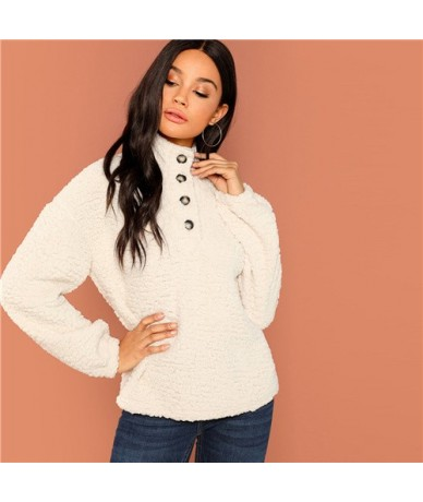 White Casual Solid Button Front Half Placket Teddy High Neck Sweatshirt 2018 Autumn Going Out Women Sweatshirts - White - 4E...